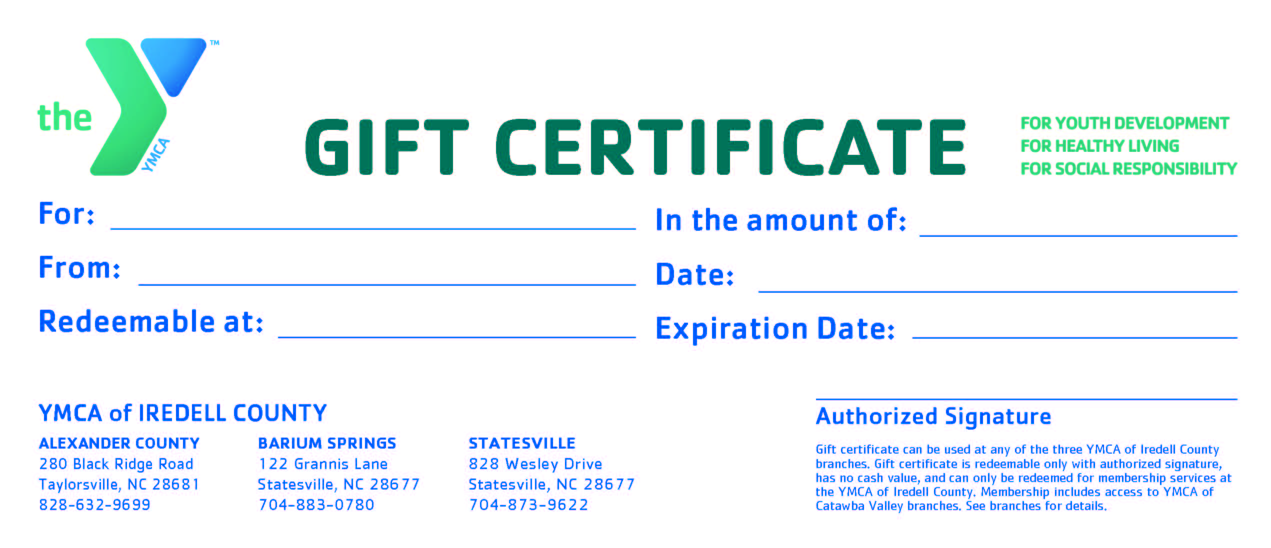 purchase y gift certificates at any of the three ymca of iredell ...